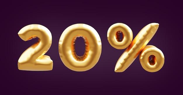Illustrazione dorata del pallone 3d del 20 percento. illustrazione dorata del pallone del venti per cento in 3d. palloncini dorati al 20%