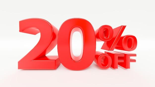 20% di sconto sul testo 3d su sfondo bianco