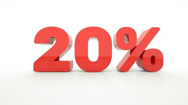 20% di sconto rosso su sfondo bianco per promozione sconto vendita pubblicità 3d isolato