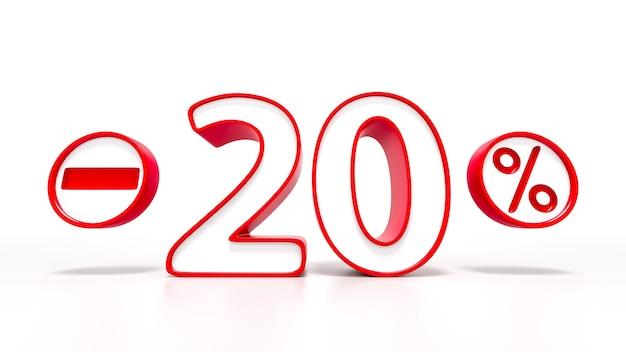 Simbolo rosso del 20 percento isolato su priorità bassa bianca. rendering 3d