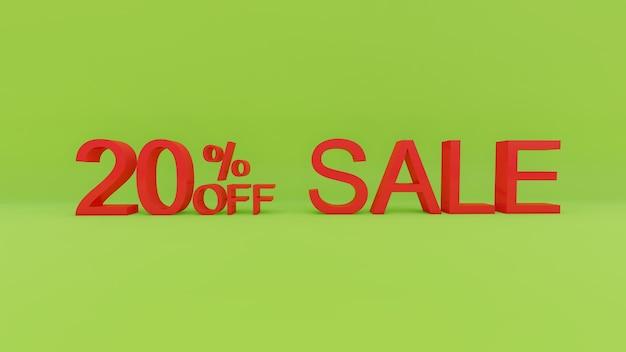 Testo di vendita del 20 per cento nella parete verde 3d
