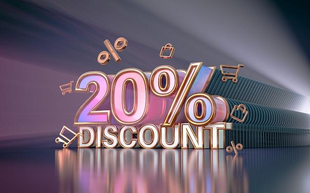 Sconto del 20% per l'offerta speciale di sfondo per il rendering 3d del poster promozionale dei social media