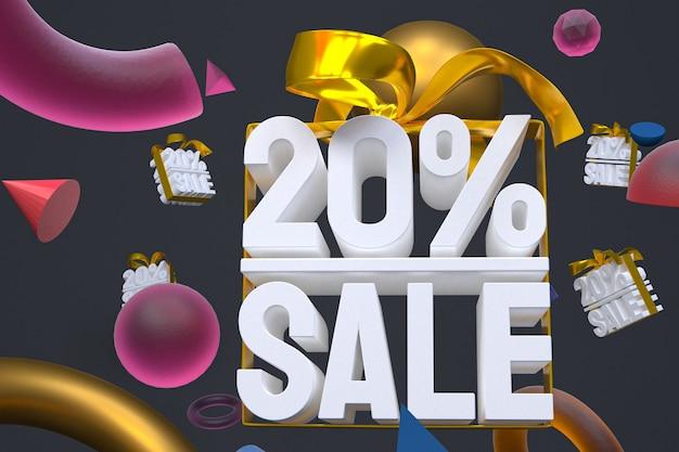 20% di vendita con fiocco e nastro 3d design su sfondo di geometria astratta
