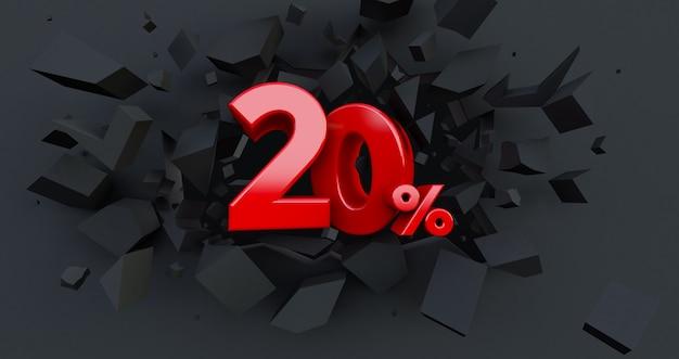 20 venti per cento di vendita. idea del venerdì nero. fino a 20%. muro nero rotto con il 20% al centro