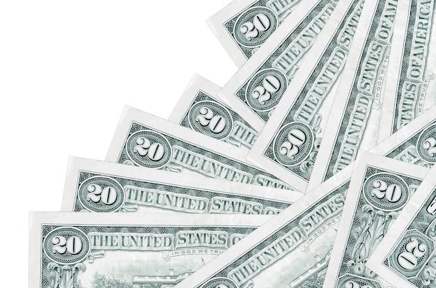 20 banconote in dollari usa si trovano in un ordine diverso isolato su bianco. attività bancarie locali o concetto di fare soldi.