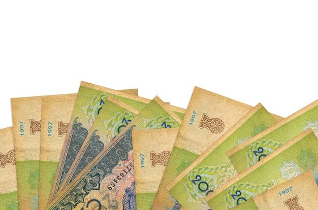 200 banconote som uzbeke si trovano sul lato inferiore dello schermo isolato. modello di banner di sfondo per concetti di business con i soldi
