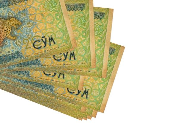 200 banconote som uzbeke si trovano in un piccolo mazzo o pacco isolato. concetto di cambio valuta e affari