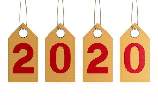 Etichetta in pelle 2020 su uno spazio bianco. illustrazione 3d isolata
