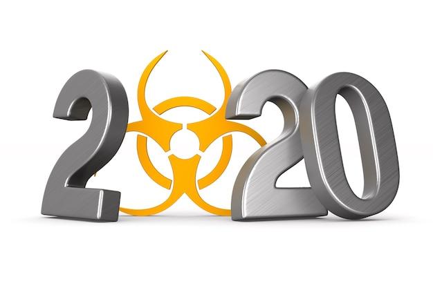 2020 anno e simbolo di rischio biologico su bianco.