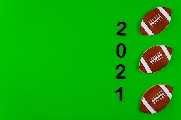 Fondo verde di stagione di football americano 2021. sport professionistico.