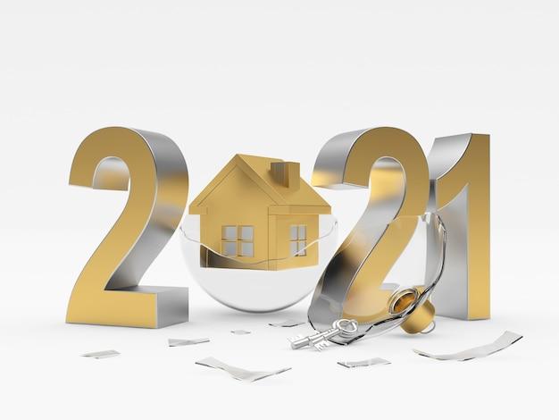 2021 e palla di natale trasparente rotta con l'icona della casa