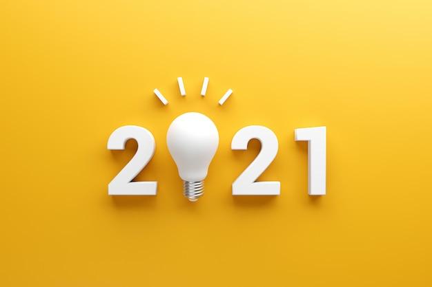 Concetti di ispirazione creativa del 2021, idea della lampadina con il nuovo anno 2021.