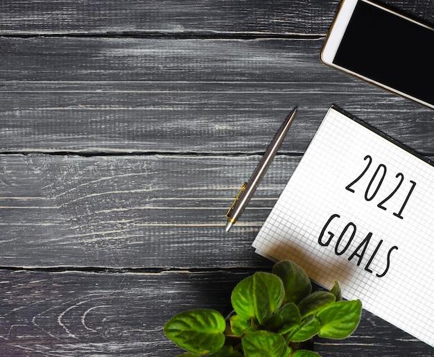 Concetto di obiettivi 2021.