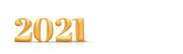 2021 felice anno nuovo numero d'oro. rendering 3d Foto Premium