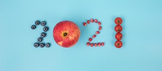 2021 felice anno nuovo e nuovo tu con frutta e verdura