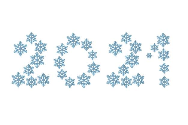 2021 happy new year testo fatto di fiocchi di neve decorativi isolati su sfondo bianco. carta da parati, poster, banner o biglietto di auguri modello celebration per buon natale e felice anno nuovo.