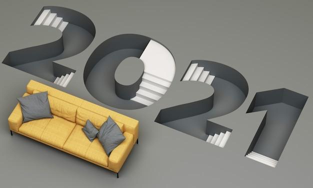 Il carattere della scala verso il basso del 2021 a strisce gialle e grigie alla moda è circondato dal rendering 3d del divano giallo