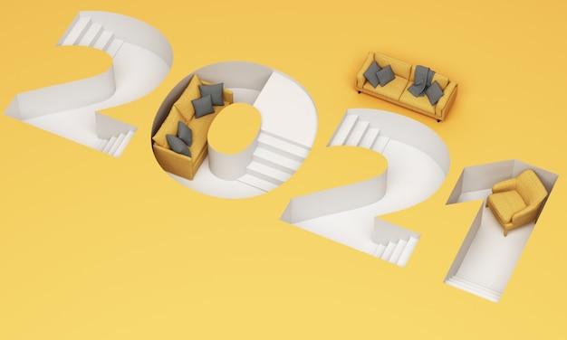 Il carattere scaletta verso il basso del 2021 a strisce gialle e grigie alla moda è circondato dal rendering 3d di divano e poltrona gialli