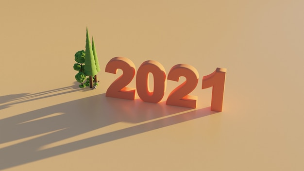 Numero 3d rendering 2021 nuovo anno walpaper