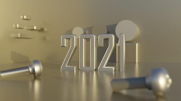 2021 anno nuovo 3d numero di sfondo in acciaio