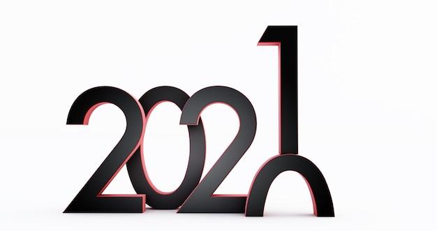 Anno nuovo 2021 isolato su priorità bassa bianca.