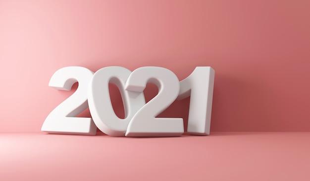 Simbolo del nuovo anno 2021 vicino al muro rosa in studio