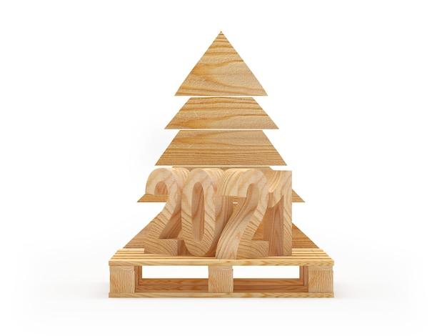 Numero 2021 su pallet di legno e albero di natale