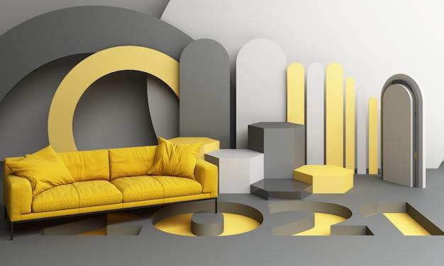 2021 forma geometrica gialla e grigia con divano rendering 3d Foto Premium