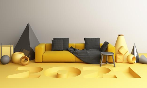 2021 forma geometrica gialla e grigia con divano rendering 3d