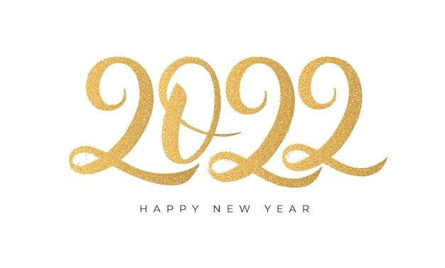 2022 felice anno nuovo. testo dorato con texture glitter oro. stampa calligrafica manoscritta. vettore.