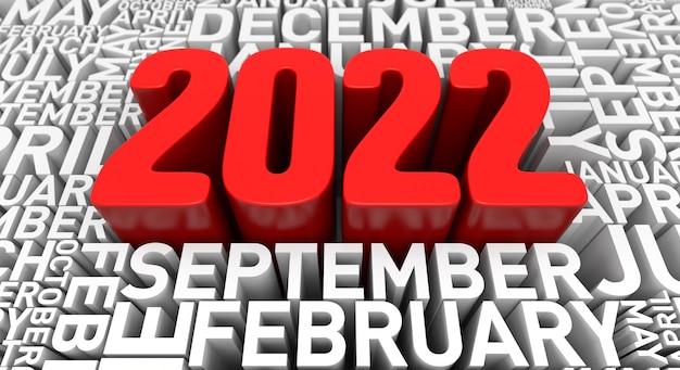Concetto di sfondo del nuovo anno 2022. rendering 3d