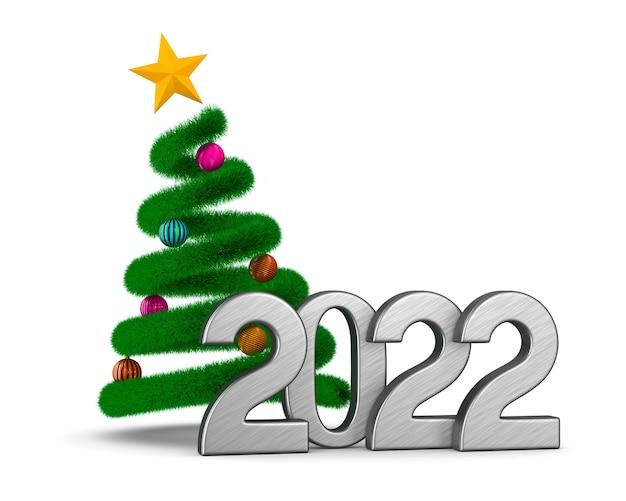 2022 anno nuovo su sfondo bianco. illustrazione 3d isolata
