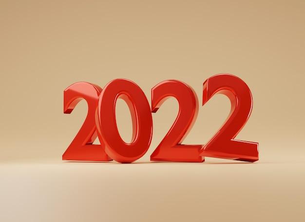 2022 numero rosso su sfondo giallo per la preparazione del concetto di buon natale e felice anno nuovo, tecnica di rendering 3d.
