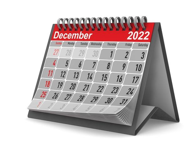2022 anno. calendario per dicembre. illustrazione 3d isolata