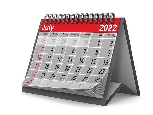 2022 anno. calendario per luglio. illustrazione 3d isolata