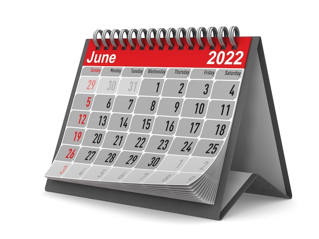 2022 anno. calendario per giugno. illustrazione 3d isolata