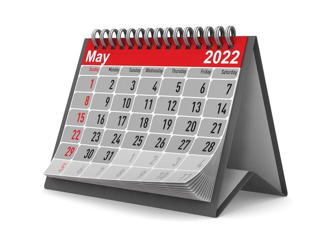 2022 anno. calendario per maggio. illustrazione 3d isolata