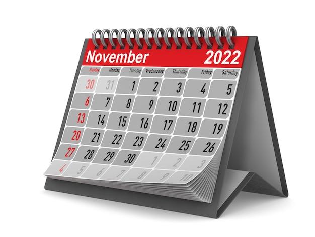 2022 anno. calendario per novembre. illustrazione 3d isolata