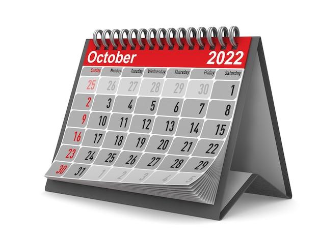 2022 anno. calendario per ottobre. illustrazione 3d isolata