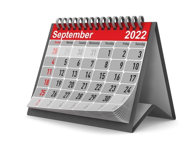 2022 anno. calendario per settembre. illustrazione 3d isolata