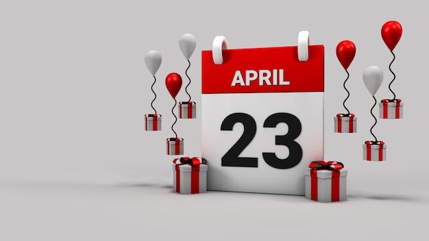 23 aprile 3d render sfondo del calendario