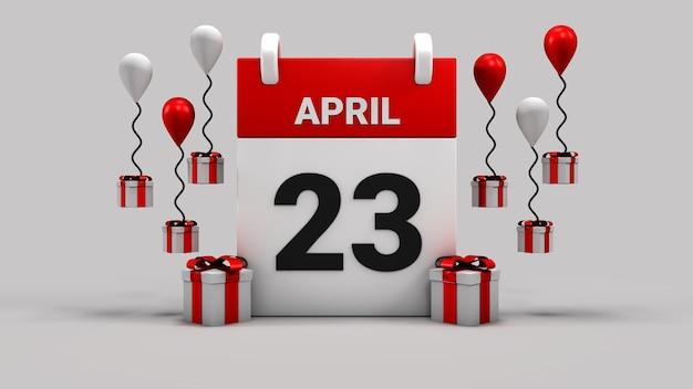 23 aprile sovranità nazionale e calendario del giorno dei bambini 3d rendering