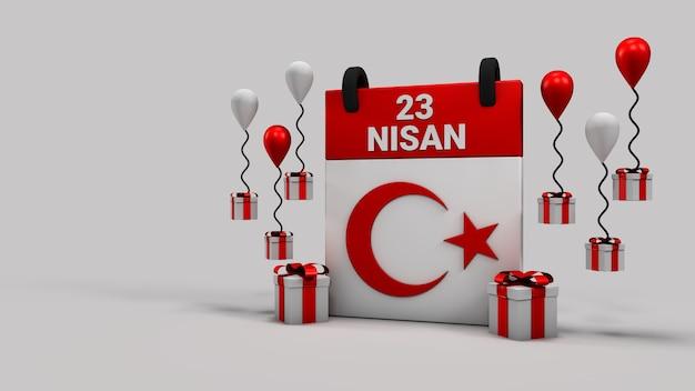 23 nisan sovranità nazionale e calendario del giorno dei bambini 3d rendering