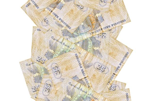 25 piastres egiziani fatture che volano giù isolati. molte banconote che cadono con lo spazio bianco della copia sul lato sinistro e destro