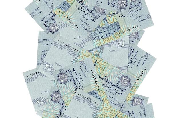 25 piastres egiziano fatture che volano giù isolato su bianco. molte banconote che cadono con lo spazio bianco della copia sul lato sinistro e destro