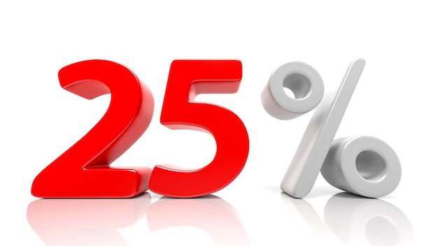 25 per cento simbolo blu isolato su sfondo bianco. rendering 3d