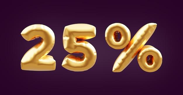 Illustrazione dorata del pallone 3d del 25 per cento. 3d dorato venticinque per cento illustrazione palloncino. 25% di palloncini dorati