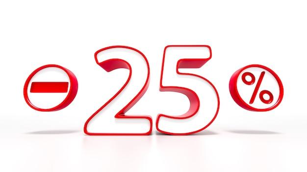 25 per cento simbolo rosso isolato su sfondo bianco. rendering 3d