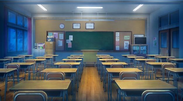 Illustrazione 2d di classe durante la notte.