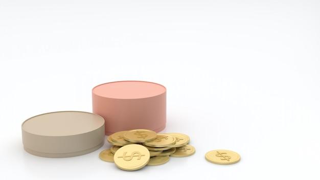 2 ° scatole cilindriche in diverse dimensioni, colori pastello e monete d'oro sul pavimento e su sfondo bianco, semi-riflettente, con il concetto di confezione regalo rendering 3d
